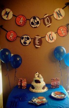 Sports baby shower. Made by Danae @.  https://www.etsy.com/shop/threeWESTdesigns?ref=pr_shop_more