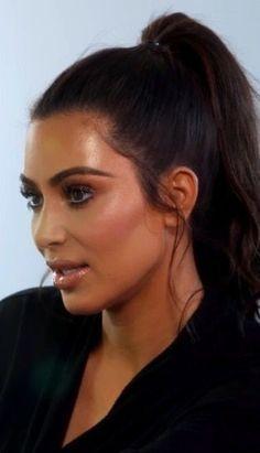 Image result for kim kardashian sleek high ponytail highlight