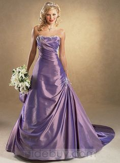 Color Wedding Dresses Chapel Train Orchid Strapless