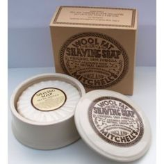 Mitchell's Wool Fat Shaving Soap and Ceramic Bowl