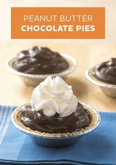 Our easy Peanut Butter Chocolate Pies—served in mini graham cracker crusts—are a delicious dessert option.