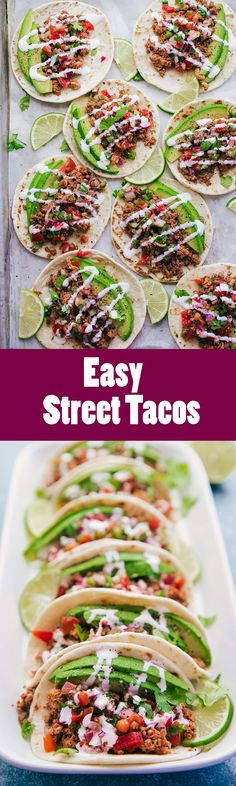 Who loves tacos? These Easy Street Tacos need to be happening in your kitchen tonight. Quick and easy to prepare you will find yourself smiling, laughing, and eating in less than 20 minutes. Mexican Food Recipes, Dinner Recipes, Ethnic Recipes, Mexican Dishes, Yummy Recipes, Street Tacos, Dark Chocolate Cakes, Cheesecake Bites, Easy Meals