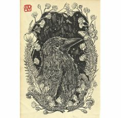 Crow illustration, digital print (of a original ink drawing on an old book page). Print paper size A4 / 8 x 11 in.Signed and dated, shipped in a protective plastic sleeve with cardboard backing.