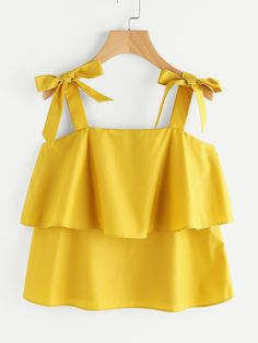 Bow Tie Shoulder Layered Top SHEIN is part of Frock fashion - Casual Skirt Outfits, Crop Top Outfits, Stylish Dresses, Chic Outfits, Trendy Outfits, Girl Outfits, Girls Fashion Clothes, Teen Fashion Outfits, Girl Fashion