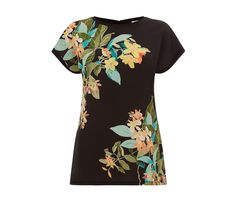 TROPICAL PRINT WOVEN FRONT TEE   Warehouse