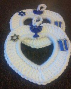 Crochet Photo frame Heart Hanukkah Frame Teacher by GrammaLeas