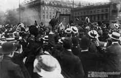 """In this photograph from August 1, 1914 (when Austria had already declared war on Serbia, and Germany was just declaring war on Russia in response to the Russian mobilization), a crowd of Berliners hold up a portrait of Austrian Emperor Franz Joseph I (1830-1916), thereby demonstrating support for their Habsburg ally. By August 4, 1914, France and Britain were also involved in what became the first of the century's two global wars."" SMG"
