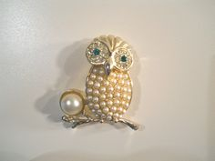 Vintage Cov Owl Brooch, Sarah Covington Jewelry, Holiday Pins