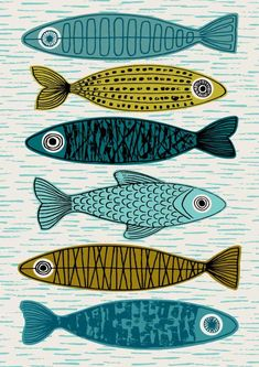 Six Fish, limited edition giclee print Six Fish is a variation on my popular Five Fish print, with a slightly different composition and a lighter, fresher palette. Im a huge fan of the fish-related im Inspiration Art, Fish Print, Fish Design, Art Plastique, Etsy, Printmaking, Fisher, Giclee Print, Art Print
