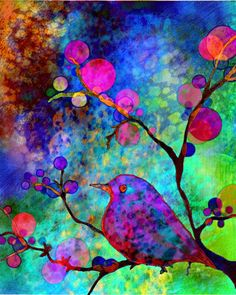 """""""Enchantment""""..watercolor and digital layering. Stunning colors. What is it about hot pink and royal blue for me?"""