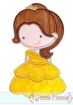 Embroidery Designs - Cutie Princess as Belle the Beauty Applique 4x4 5x7 6x10 - Welcome to Lynnie Pinnie.com! Instant download and free applique machine embroidery designs in PES, HUS, JEF, DST, EXP, VIP, XXX AND ART formats.