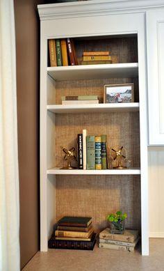 {#DIY #burlap backed book shelves}