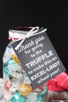 **teacher thank you** Lindt Truffles Teacher Appreciation Gift Staff Appreciation Gifts, Staff Gifts, Volunteer Gifts, Teacher Gifts, Teacher Presents, Volunteer Ideas, Lindt Truffles, Free Printable Gift Tags, Work Gifts