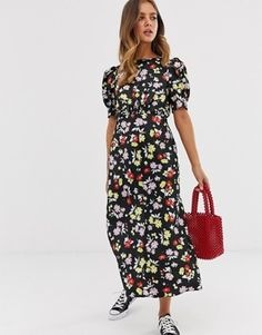 eab32d19c197 Asos Design Midi Tea Dress In Bright Grunge Floral Print