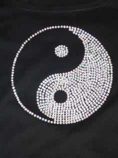 T-Shirt Yin & Yang aus Strass www.tachinedas-kreativshop.com
