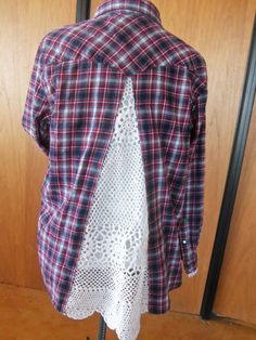 UPSCALE AND REPURPOIUS ...PC.........Upcycled plaid flannel shirt with lace insert/Recycle