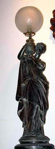 """Ca 1870 Victorian 36"""" tall Gas Newel Light (now electrified), of Grecian lady holding Period Acid Etched Glass Globe."""