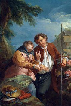 Representação artística de uma leitura de mãos, pintado por Charles-André van Loo