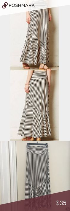 "Maeve Ardennes Black & Cream Striped Maxi Skirt Super cute and perfect for summer. Bouncy and stretchy material. 95% rayon, 5% spandex. Length: 37"" Waist: 12.5"" (laying flat) Anthropologie Skirts Maxi"