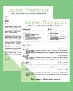 Resume Template  Word Document Download  by InspireBranding, $15.00