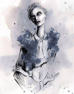 Lara Wold. Week 2: Eduardo. USA. 2015. Pen and Watercolour. The stylisation of elongating the figures neck, creates an elegant gesture complimenting the garment