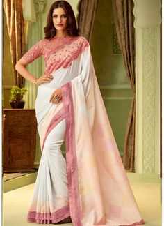 Off White Silk Designer Saree Bollywood Designer Sarees, Indian Designer Sarees, Latest Designer Sarees, Wedding Sarees Online, Saree Wedding, Fancy Sarees, Party Wear Sarees, Festival Wear, Festival Fashion