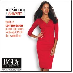 Surplice Body Illusions Dress Built-in nylon/spandex powermesh body shaper and compression panel for instant curves. Stay-put silicone hem keeps skirt from riding up. Flattering crossover neckline, 3/4-length sleeves. #reddress  https://conniecrane.avonrepresentative.com
