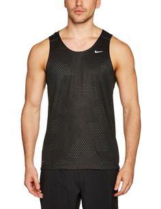 52383fb8 Nike Men's Printed Miler Singlet - Anthracite/Black/Reflective Silver,  XX-Large: Amazon.co.uk: Sports & Outdoors. Nike Dri FitWorkout Tank TopsNike  ...