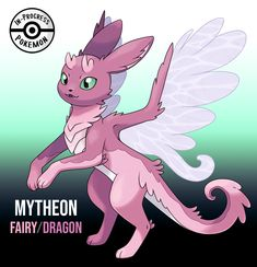 Mytheon (Fairy/Dragon) - On rare occasion, an Eevee can be affected by more than one environmental factor, and reacts to grow into a new, rare evolution. Fairy/Dragon Eeveelutions are an unusual sight in the wild, created when Dragon and. Pokemon Breeds, Pokemon Memes, Pokemon Eevee Evolutions, Pokemon Pokedex, Satoshi Pokemon, Pokemon Kalos, Pokemon Fusion Art, Cute Pokemon Wallpaper, Anime Animals