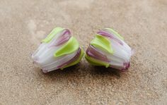 Floral Buds, Pair - Handmade Glass Beads