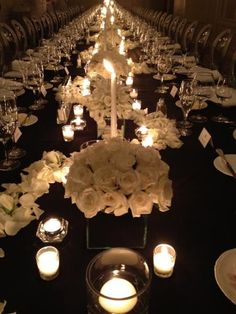 Black tablecloths, white flowers and clear glass candle votives,PERFECTION Wedding Day Wishes, Wedding Pins, Our Wedding Day, Wedding Flowers, Dream Wedding, Wedding Ideas, Winter Wonderland Wedding, Bridezilla, Table Flowers