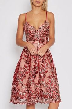 Spaghetti Strap  Backless Zipper  Embroidery  Sleeveless Party Dresses