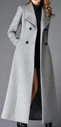 Long Grey Coat, Long Wool Coat, Wool Trench Coat, Hooded Wool Coat, Wool Coats, Trendy Outfits, Fashion Outfits, Womens Fashion, Winter Mode