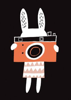 Rabbit With Camera Poster A3- Becky Baur — ZIGZAG & ZEBRA- Creative toys and interiors for children
