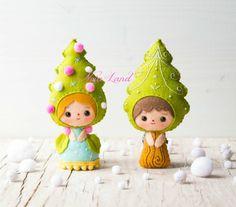 Christmas Tree elves PDF Pattern | Etsy Felt Christmas Ornaments, Christmas Crafts, Christmas Tree, Felt Diy, Felt Crafts, Decoracion Navidad Diy, Felt Decorations, Felt Dolls, Diy Arts And Crafts