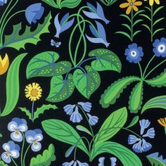 Jane Sassaman Millefleurs Periwinkle Flowers by lucyintheskyquilts