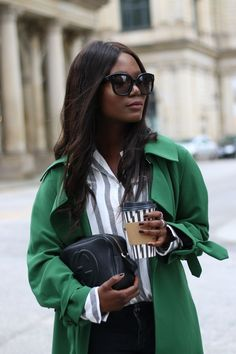 Coffee for everyone  #EmmaBrwn in a green coat and Celine Paris Audrey Sunglasses and Gucci Soho Bag