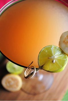 guava coconut cocktail | 1 ounce coconut juice      1 ounce vodka      2 ounces guava juice      1 ounce fresh lime juice combined with a splash of agave        Fill cocktail shaker with ice and add all ingredients. Shake and serve in chilled martini glasses. Garnish with lime slice and guavas slices.