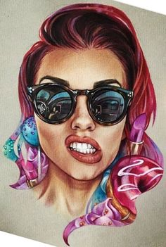 With skull reflection on enses. And mf baddest female written beliw Body Art Tattoos, Girl Tattoos, I Tattoo, Art Sketches, Art Drawings, Art Visage, Pin Up, Dope Art, Fashion Drawings