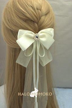 Elegant Brocade White Lace Bow Long Ribbon Pearl Deco Hair Clip Lolita Barrette #Handmade