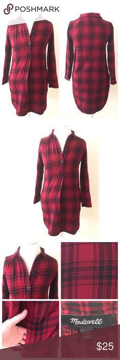 """Madewell Red Plaid Flannel Tunic Top Madewell Tunic Flannel Plaid Top. Size XXS. All my items are from a smoke free environment. In great gently used condition. Measurements are; armpit to armpit 18"""", length 35"""" and sleeve measurements from the back mid seam of neck is 31"""". Prices are negotiable. Thank you for stopping by :-) Madewell Tops Tunics"""
