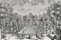 Setting For An Opera In A Garden by Giuseppe Bibiena - Setting For An Opera In A Garden Drawing - Setting For An Opera In A Garden Fine Art Prints and Posters for Sale