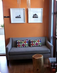 bright, coordinating and contrasting colors in dentist waiting room.