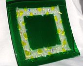 Medium Fused Glass Plate: St. Patrick's Day Spring Irish Green with Dichroic and Amber bits in Citron