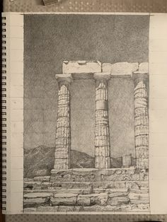 "Graphite on paper. The first ""proper"" drawing of this series. Based on field sketches and photos taken."