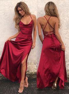 71c5561c46 Sexy A Line Spaghetti Straps Backless Bandage Slit Burgundy Satin Prom Dress