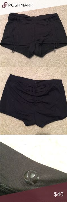 Lululemon Hot Yoga Short Draw strings on front of legs. All black. Like new without tags Size 4 lululemon athletica Shorts