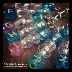 DIY Stitch Marker Instructions at Niccupp Crochet.  She uses the marker to denote the size hook used on a hibernating project. There's no guessing involved. Just need to make it with a clasp that opens/closes.