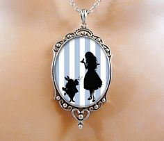 Alice In Wonderland Necklace Valentine Gift Jewelry - Blue Jewelry Wearable Art Gift For Her