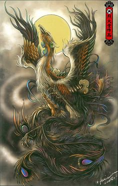 Feng Huang - the Phoenix Japanese Phoenix Tattoo, Japanese Tattoo Art, Cover Up Tattoos, New Tattoos, Fenix Tattoos, Phoenix Tattoo Design, Phoenix Art, Dragon Artwork, Asian Tattoos